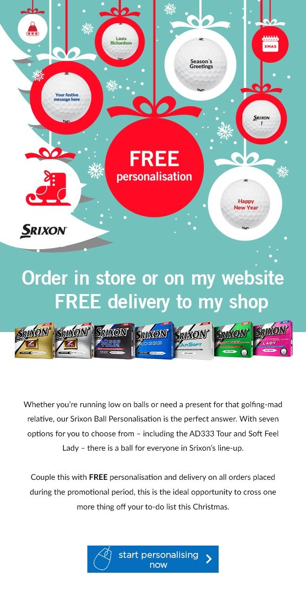 Free Personlisation on Srixon's, from £24.99
