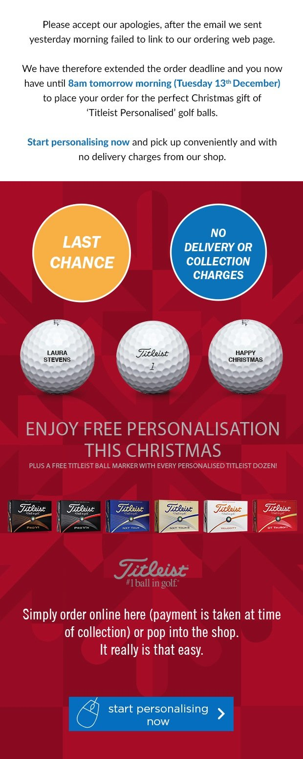 Free Personalisation on Titleist's, from £19.99